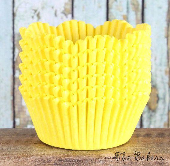 Yellow Petal Wedding Cupcake Liners (50)