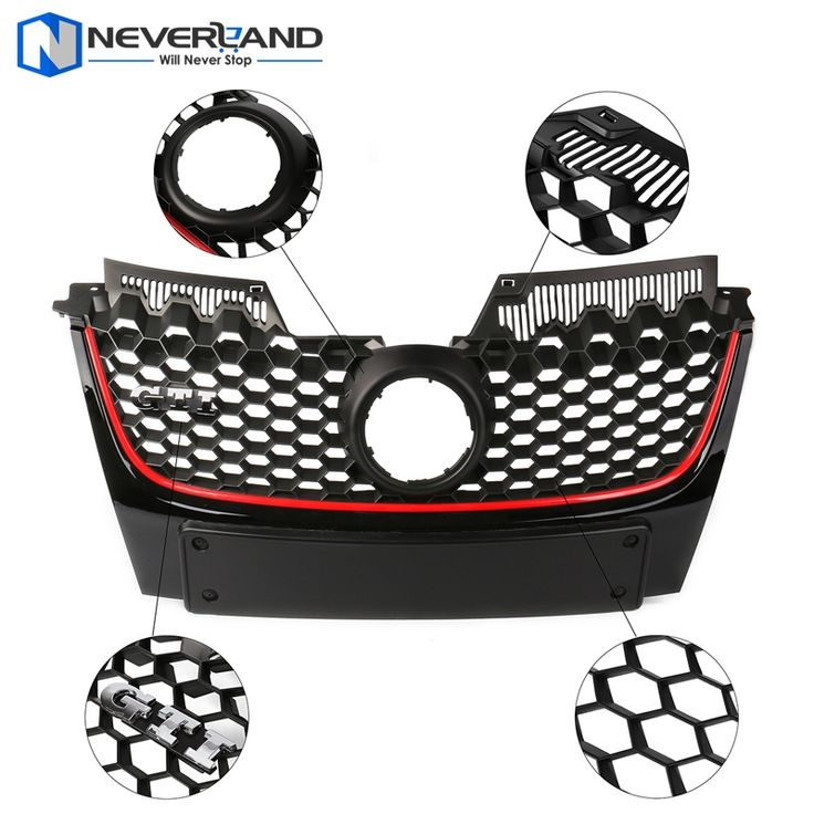 89.99$  Buy here - http://alisyl.worldwells.pw/go.php?t=32624128120 - ABS Front Bumper Grille Red Strip Center Hood Grills For Volkswagen VW Jetta Golf MK5 GTI Bumper 2006 2007 2008 2009