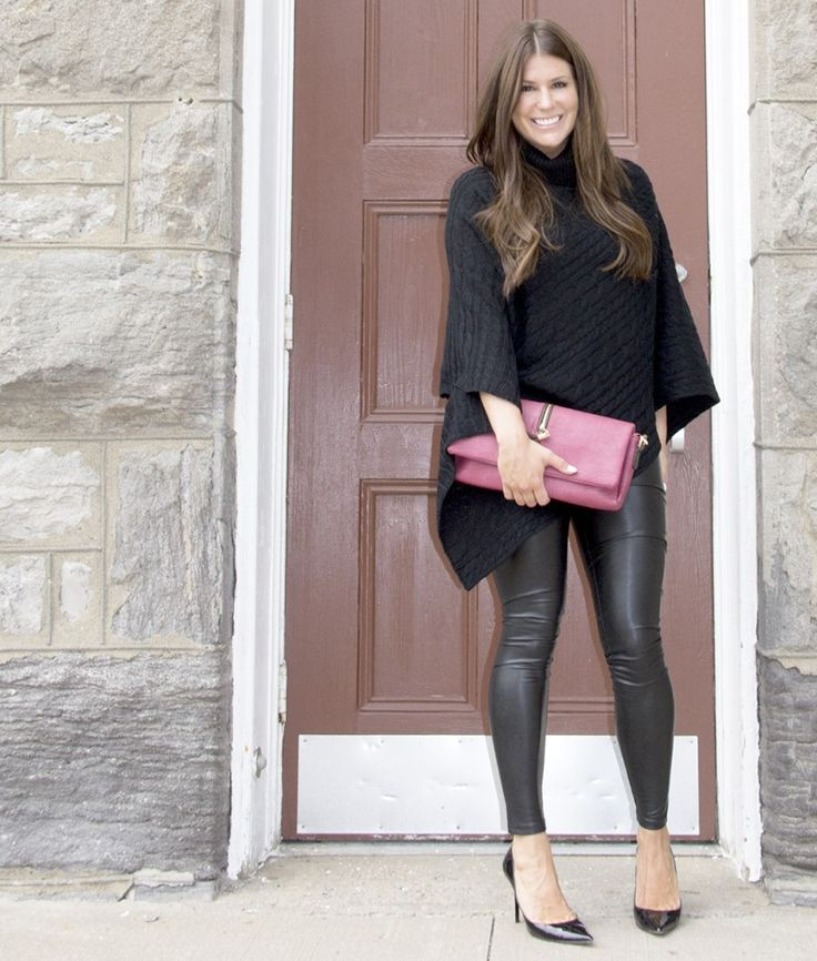 Bella Accessories Poncho and Leather Look Leggings - Blog Post - How to Style a Poncho