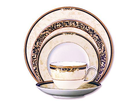 #wedgwood #Cornucopia 6-Piece Place Setting - fine bone #china whiteware and decorated with wide bands of ivory parchment, ribboned by dark navy, roped with an ochre accent and rimmed in lustrous 22-carat #gold. | #thomasjewellers