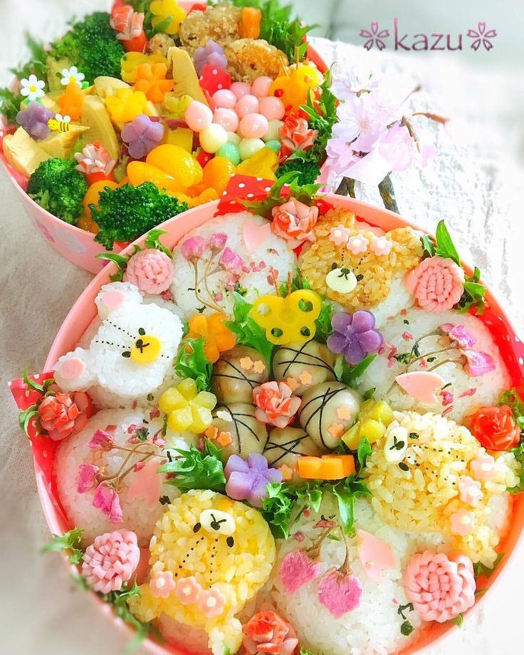 ジャッキー&ルルロロのお花見弁当 …のはずだったのに、今日は朝から雨☔  残念  ですが、お友達のおうちで、子供たちもママたちも楽しい時間を過ごせました #お弁当 #obento #キャラ弁 #お花見弁当 #ジャッキー #デイビッド #ルルロロ #kids_japan #コズレ #大箱弁当 #コドモノ #親バカ部 #ig_oyabakabu #igersjp  #ig_japan #くまのがっこう #instafood