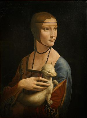 """From the very lines in her brows to the gaze, she was a work of art before she was even painted. She has a weasel which is white. This indicates the fur change of winter and the weasel being a constant eater is needy and is also sneaky stealth unrelenting in its self serving pursuits. She shows it obligatory indifferent (finger tips only) affection as she looks with admiration at something else. The weasel is looking as if a stranger is in the room and contemplating. """"Lady with the Ermine"""""""