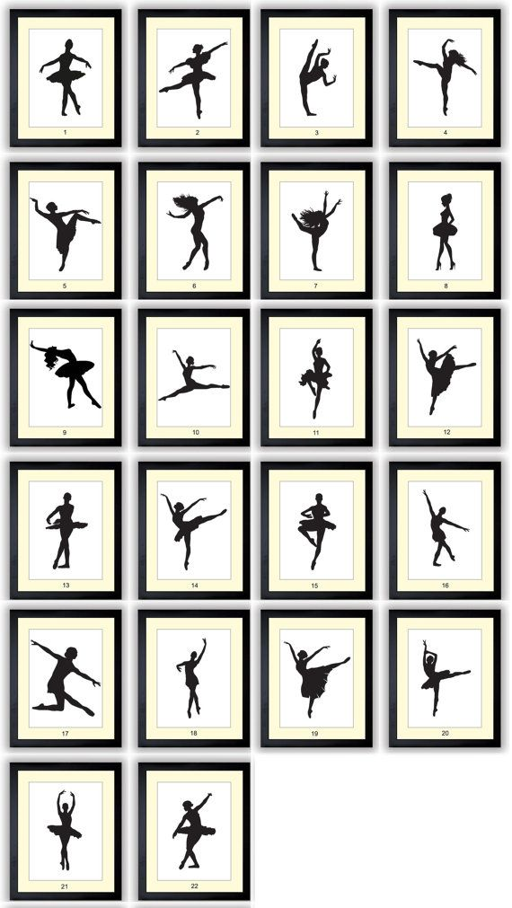 Ballet Ballerina Dancer Silhouette Prints Mix and Match Girls Art Nursery Art Nursery Print Child Baby Art Print Kids Room Wall Art Decor