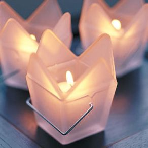 Chinese Takeout Box Frosted Glass Candle Holder