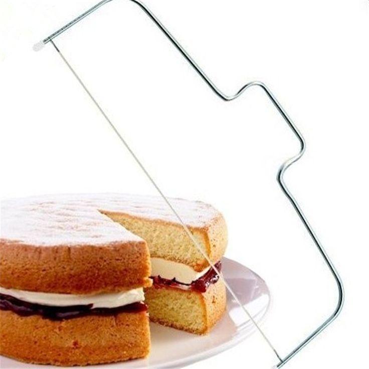 Desear 1 unids Alambre Ajustable Cake Slicer Nivelador 32 cm de Acero Inoxidable Pastelería Cake Pan Cortador Delaminador Masa de Pizza