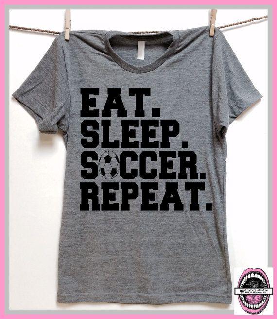 Eat.Sleep.Soccer.Repeat. Unisex Grey Heather by pinkboxstudio
