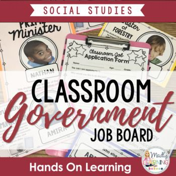 Classroom Government Job Board: teach young students how the government works with these job assignments.