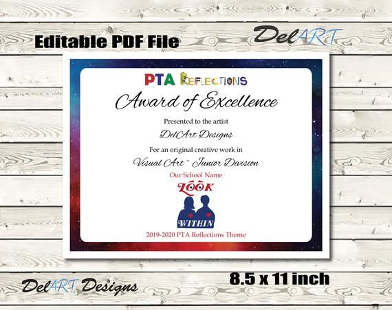 Pta Reflections Certificate 2020 2021 Digital Printable Pdf Etsy Pta Reflections Certificate Templates Digital Printables