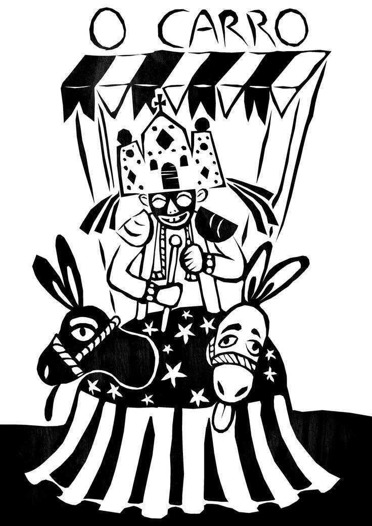 O Carro- Carta que simboliza a vitória, o triunfo, talento e competência foi representada pelo Mateus (personagem típico dos reisados – Folia de Reis, Reisado, ou Festa de Santos Reis é uma manifestação cultural religiosa festiva e classificada, no Brasil, como folclore; praticada pelos adeptos e simpatizantes do catolicismo).