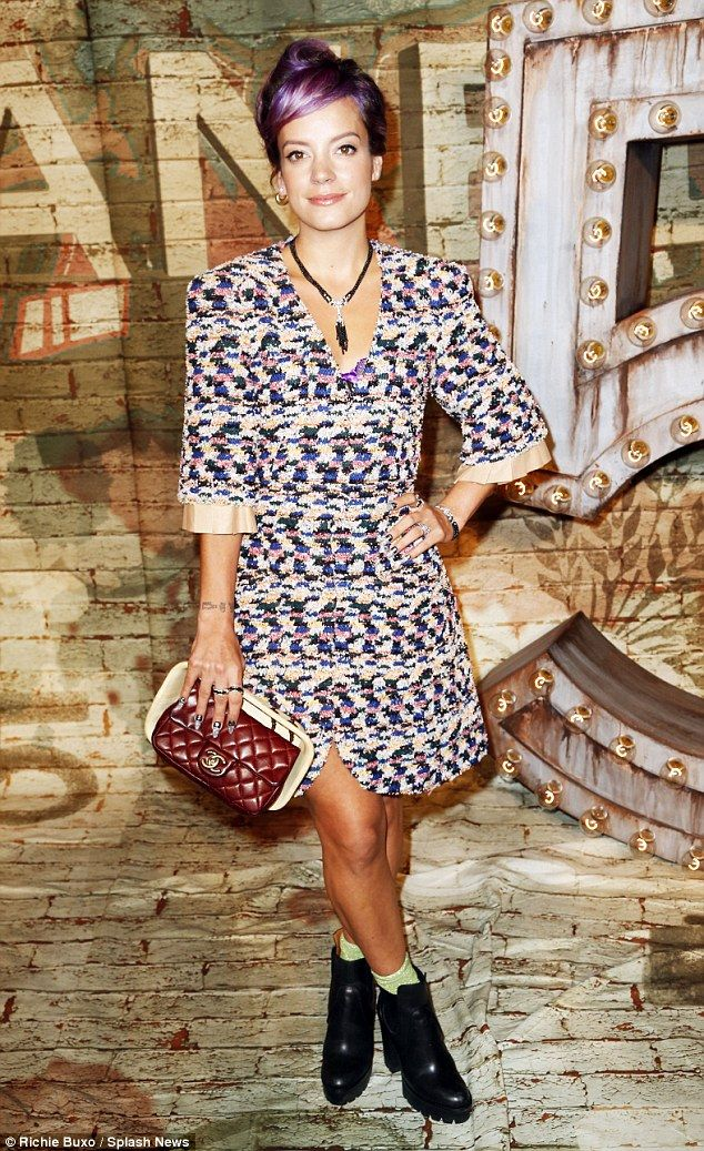 Lily Allen wore a multi-colored dress from Chanel Resort 2015 for the launch of their new commercial http://dailym.ai/1EUQF0X