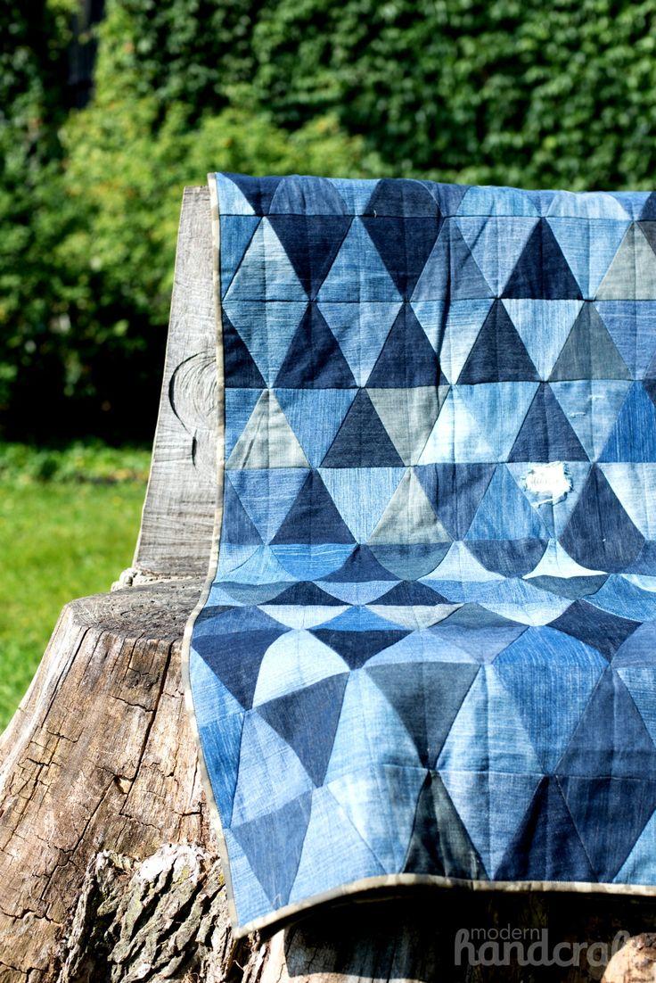 Denim Triangle Quilt   Modern Handcraft