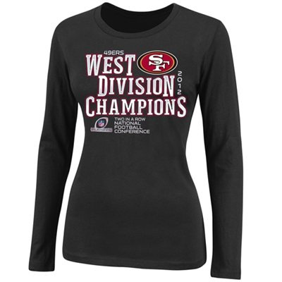 The 49ers are NFC WEST CHAMPS! Next stop, postseason! Shop official San Francisco 49ers NFC West Division championship gear here: http://pin.fanatics.com/NFL_San_Francisco_49ers/San_Francisco_49ers_Ladies_2012_NFC_West_Division_Champions_Long_Sleeve_T-Shirt_-_Black/source/pin-sf49ers-nfc-west-champs-sclmp