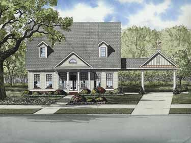 10 best images about porte cochere on pinterest for Cottage house plans with porte cochere