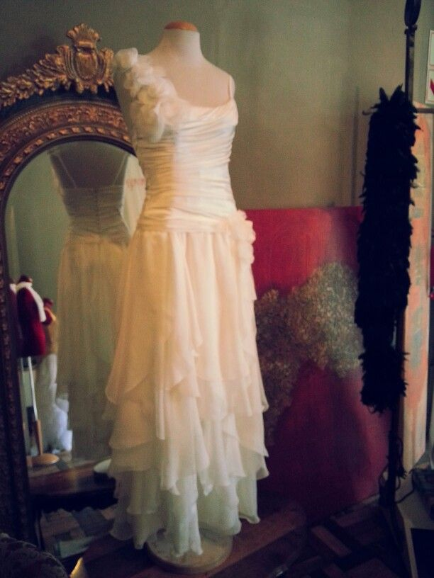 Deidre's Wedding Dress Pure silk draped bodice and flounced chiffon skirt