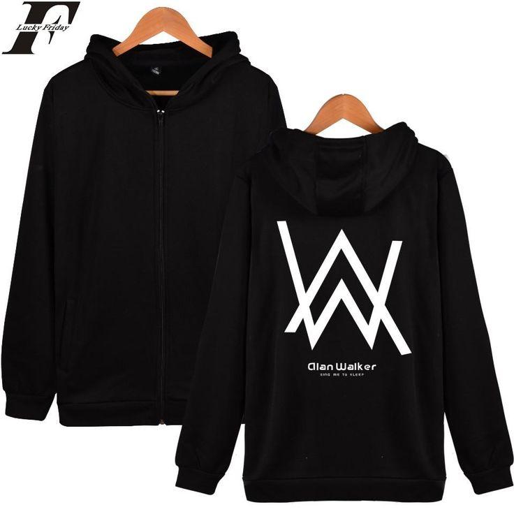 LUCKYFRIDAYF Alan Walker DJ Hooded Sweatshirt Winter Mens Hoodies And Sweatshirts Zip Plus Jacket Cotton Coat Fashion Hoodie