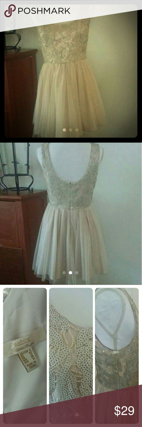 AIDAN MATTOX, Sleeveless Beige Party Dress Gently Pre owned.  Perfect for Prom or any Festive Occasion. Beautifully sequined and skirt is Soft not Stiff. * missing fabric tag. Aidan Mattox Dresses