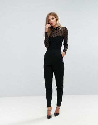 French Connection Spotty Mesh Jumpsuit