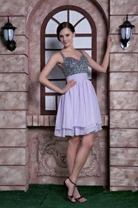 Straps Mini-length Lavender Chiffon Brand New Prom Dresses with Beading