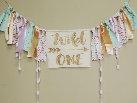 Wild One Boho Girls Birthday party Banner Coral by JadeandJoStudio