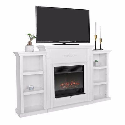 TV Stand Ivory Entertainment Media Console Open Shelves Elegant Organization