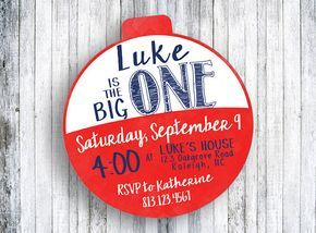The Big One - Birthday Invitation - Red and White Bobber - Fishing Birthday - 1st Birthday Invitation
