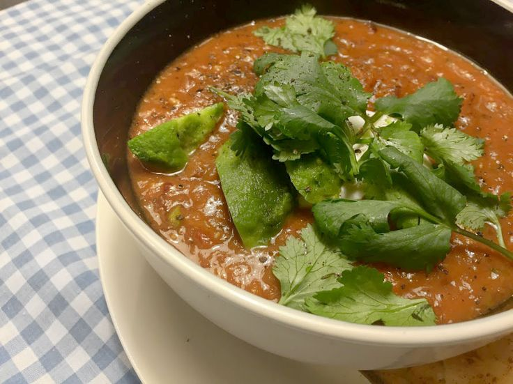 Vegetarian Mexican bean and tomato soup - the perfect winter warmer that tastes just like nachos!