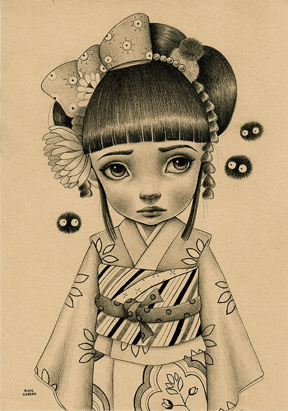Kimono Girl. Original artwork by Raul Guerra by raulguerra on Etsy