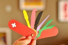 DIY Paper Swiss Army Knife Craft for Kids - Cool! http://www.estefimachado.com.br/2012/09/o-dia-em-que-dei-um-canivete-suico-pro.html