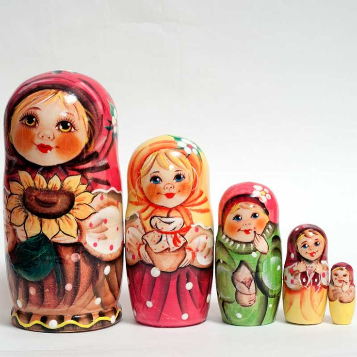 New Products. Matryoshka Alionka with Sunflower is a hand-painted nesting doll paint... http://russian-crafts.com/nesting-dolls/matryoshkas/matryoshka-alionka-with-sunflower.html