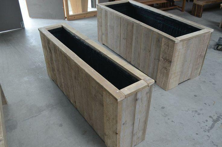 Bloembakken van steigerhout in alle maten. Wooddesign4u