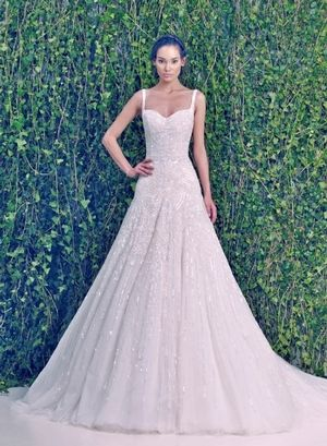 Bridal Gowns: Zuhair Murad A-Line Wedding Dress with Sweetheart Neckline and No Waist/Princess Seams Waistline