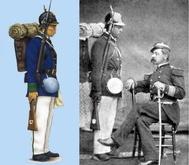 """Chilean Army - Engineer Domingo De Toro Herrera, Commandant of the 6th Line Infantry Regiment """"Chacabuco"""" next to a soldier wearing a pickelhaube captured from Peru, 1879."""