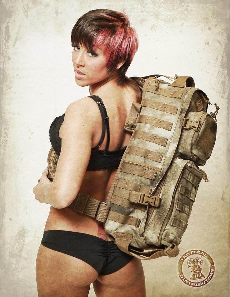 Miss March Gear Girl with Hazard 4 ATAC Camo bag.