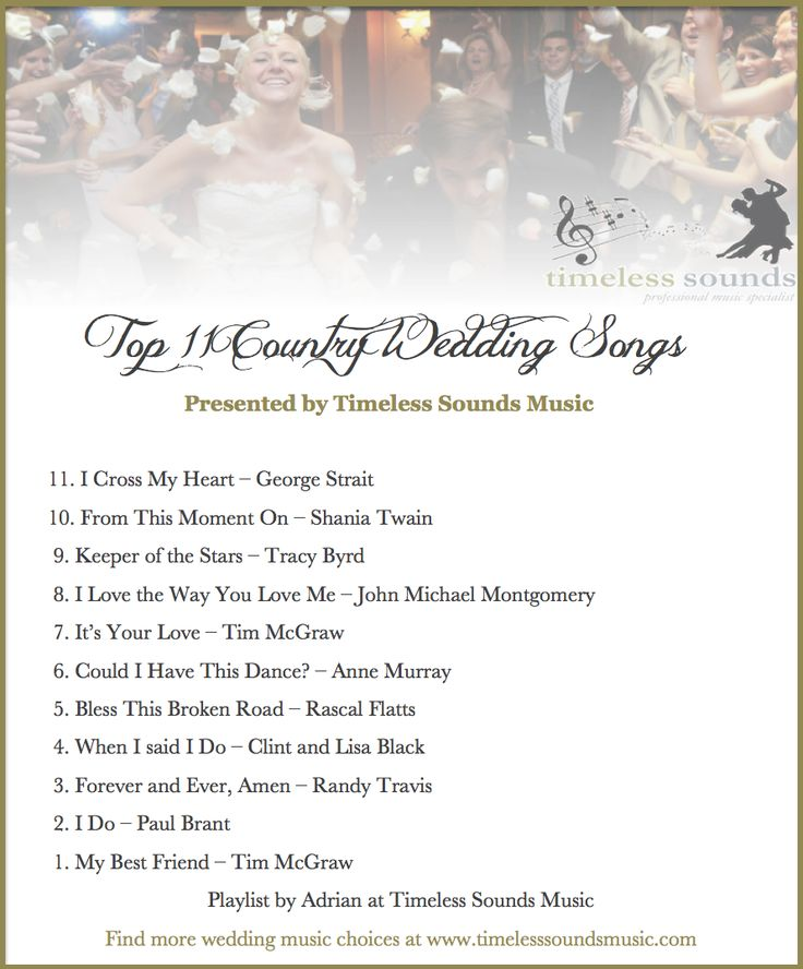 Timeless Sounds Music Top 11 Country Wedding Songs