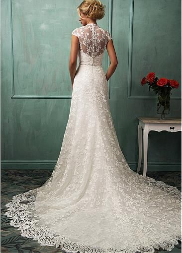 Gorgeous Lace V-neck Neckline Natural Waistline A-line Wedding Dress With Beadings & Rhinestones