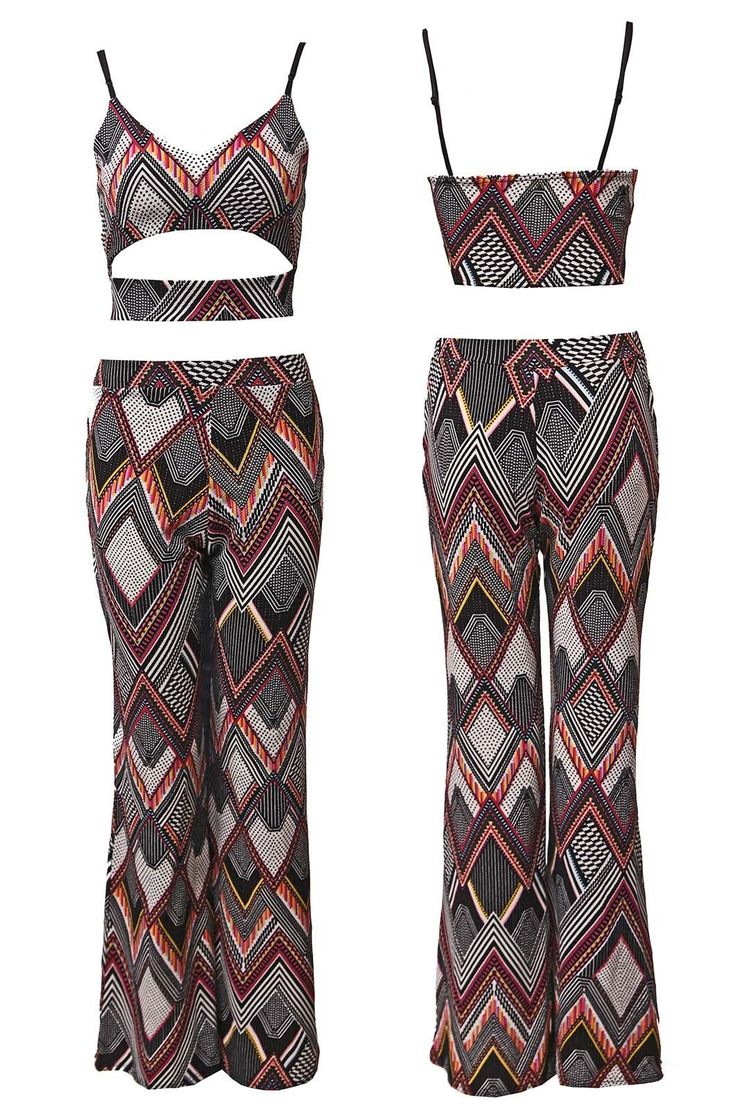 Womens Ladies Aztec Geo Print Strappy Crop Top Palazzo Trouser Co Ord Set