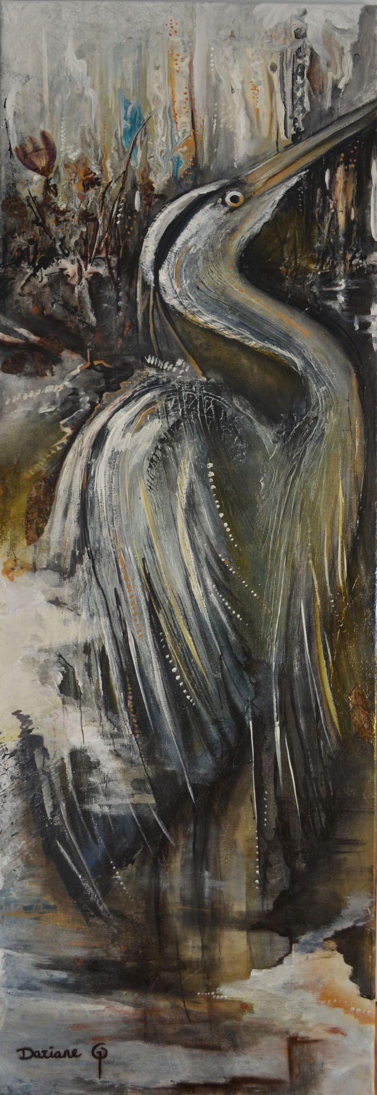 Le grand Héron  Acrylique, encre et fleurs séchées sur toile  #grandheron #heron