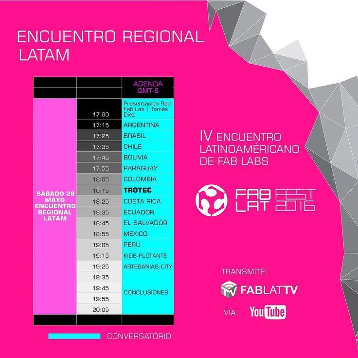 Les compartimos a todos nuestra agenda Regional para el primer cierre por países del Fab Lat Fest 2016. Esperamos que todos nos puedan seguir a través de nuestro canal de YouTube FAB LAT TV o desde nuestra fan page en Facebook @Fablatam. Los esperamos no se lo pueden perder!! #fablatfest2016 #fabfest #costarica #Brasil #mexico #peru #ecuador #bolivia #brasil #paraguay #chile #argentina #colombia #openday #fablat2016 #impresion3D #CNC #arduino #robotica #DIY #Maker #Fabber #CNCMilling…
