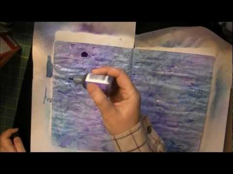 I like some of the techniques used in this video....especially putting the spray on the craft mat and laying down the paper rather than spraying right on the paper.    Art Journal Page sped up #2 - The Permission Slip tutorial