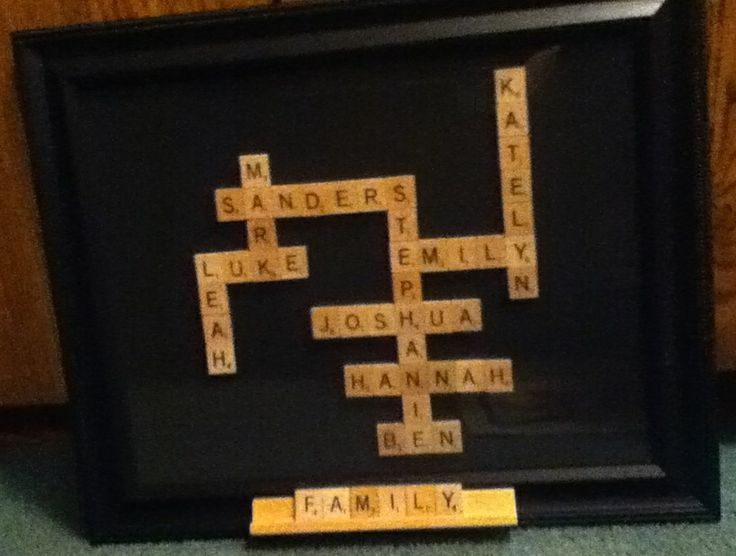 What a cute diy craft! Make your family's name and last name out of scramble letters, glue them onto paper, and frame! Adorable