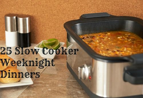 25 Slow Cooker Crockpot dinners for busy families. Good collection of a variety of meats plus a few vegetarian options.