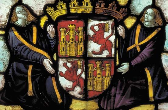 Coat of arms of Castile and Leon; detail of a stained glass window in the Alcázar, Segovia, Spain.