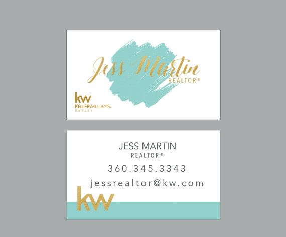 Watercolor card Modern Realtor Business Cards Real Estate ideas branding GOLD Watercolor keller williams by Ladyluckpr