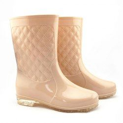 $12.84 Casual Women's Rain Boots With Solid Color and Checked Design