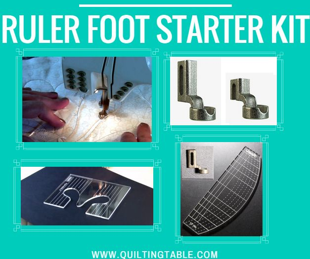 "The Westalee Designs Ruler Foot Starter Set. Includes: Ruler Foot, 12"" Arc Template, 3"" Feather Template, Stable Tape Strip, & Adjustment Guide. This foot makes the impossible possible on any domestic sewing machine and allows you to free motion quilt on any domestic sewing machine with the template provided."