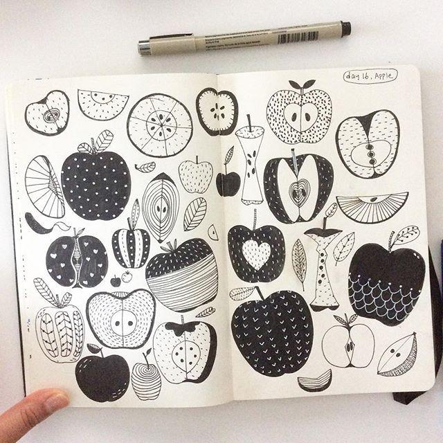 Day 16, Apple #CBDrawADay #creativebug #sketchbook #moleskineart #linedrawing #doodle #apple