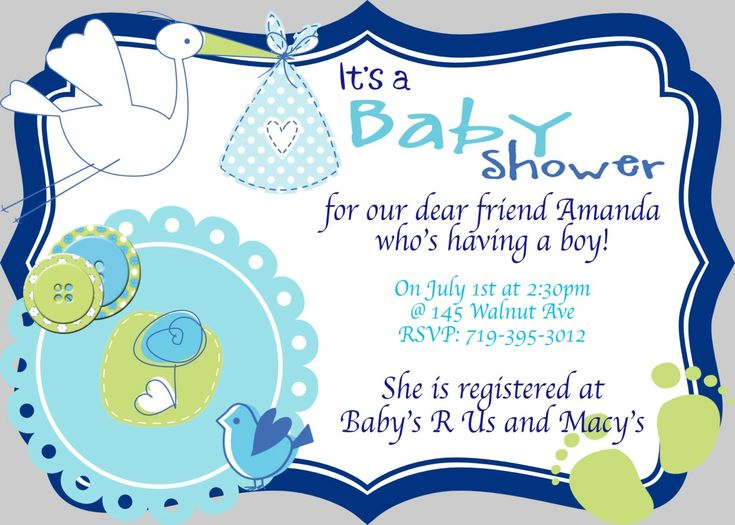 Image for Cute Baby Boy Baby Shower Invitations