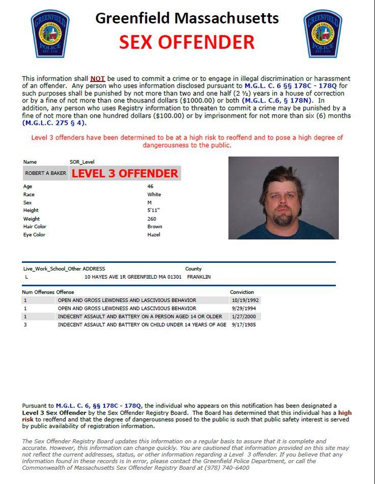 Greenfield Massachusetts Level 3 Sex Offender - High Risk to re-offend ...: pinterest.com/pin/397935317046904235