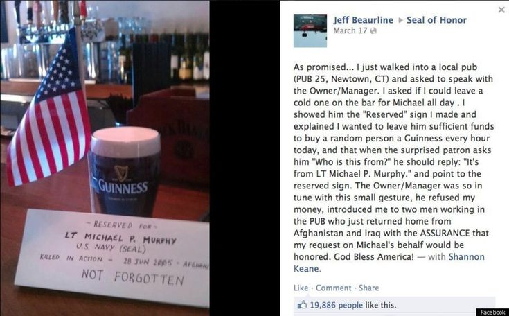 "Fallen Soldier's Tribute  To honor the memory of a soldier who was killed in action, Jeff Beurline corded off a special spot at his local bar in Connecticut for Lt. Michael P. Murphy. Beurline bought Murphy -- or ""Murph,"" as he was known by friends -- a Guinness and propped a reserved sign on the beer alongside an American flag."