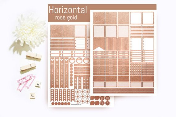 Sale Rose Gold Horizontal Planner Stickers  by PrintsesPlanner
